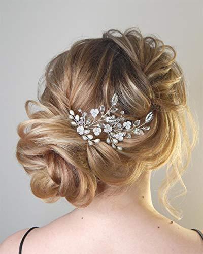 Ushiny Hochzeits-Haarnadeln, Blume, Brautschmuck, Kopfschmuck, silberne Kristalle, Haar-Accessoires, Clips für Bräute und Brautjungfern (2 Stück)