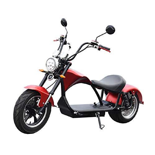 CityCoco E-Chopper Matriculable 2000W/24AH (Doble marcador digital, faro frontal tipo LED, Bateria extraible, amortiguadores,frenos de disco delantero y trasero, diseño novedoso) - Rojo