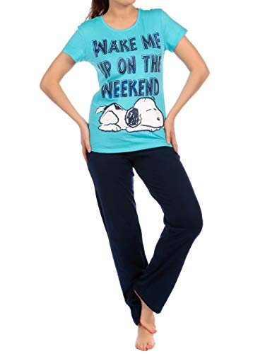 Snoopy Damen Schlafanzug Blau XX-Large