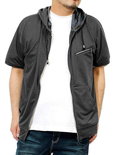 パーカー メンズ 大きいサイズ 半袖 長袖 カモフラ 迷彩 薄手 ジップアップ ゆったり ジップアップパーカー 3L チャコール(半袖)