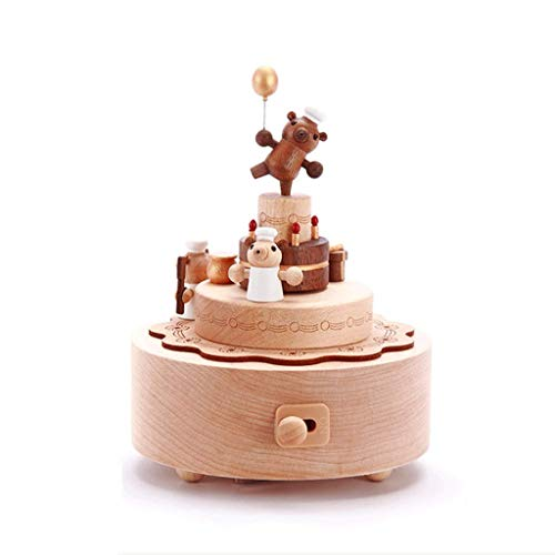WECDS-E Caja de música Caja de música de Madera Oso Caja de música giratoria Niña Niña Cumpleaños Caja de música Caja Musical giratoria (Color: La Flauta mágica)