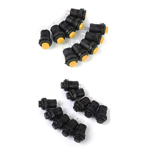 Bonarty Interruptor de Botón de Enclavamiento de Encendido Y Apagado de 20 Piezas 16 Mm 12V 1.5A / 3A Negro Y Amarillo