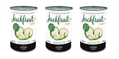 Lotao Bio Jackfruit natur, Junge Jackfrucht-Stücke, Fleischalternative, Fleischersatz, 3er Pack (3 x 400 g Dose)