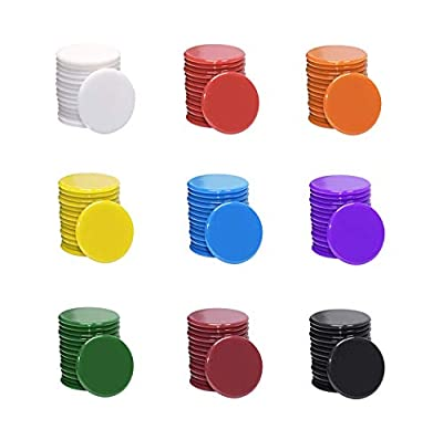 Shapenty 3/4Inch / 19mm Small Plastic Learning Counters Disks Chip Counting Discs Markers for MathPractice and Poker Chips Game Tokens with Storage Box, 9 Colors, 135PCS