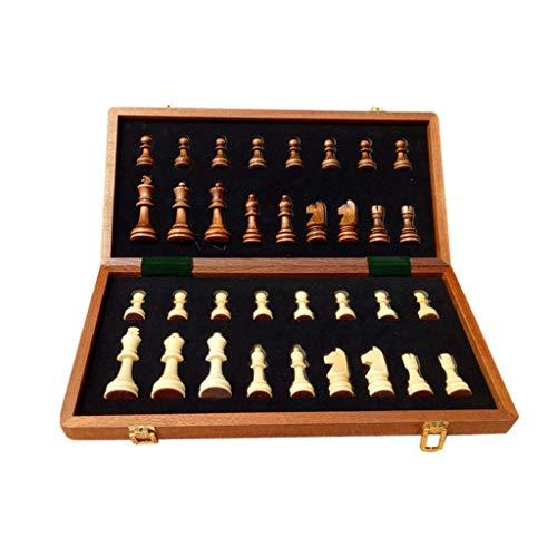 MQH Juego de Tablero de ajedrez portátil Juego de ajedrez Internacional de Madera 2 Reinas adicionales con Juegos de ajedrez de Nuez Plegable (tamaño : 39cm)