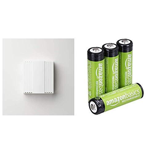 Honeywell D103 Mechanischer Gong Gala & AmazonBasics AA-Batterien, wiederaufladbar, vorgeladen, 4 Stück (Aussehen kann variieren)
