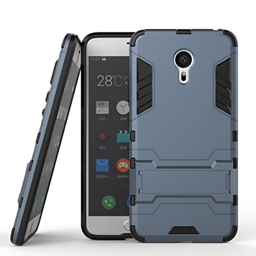 Tasche für Meizu MX 6 Pro Hülle, Ycloud das stärkste Handy Shock Proof Armor Dual Schutzabdeckung Hochfeste PC Kunststoffoberschale Shockproof mit Halterung Schutzabdeckung Dunkelblau