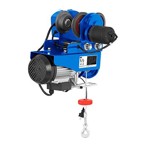 MSW PROCAT 500 Laufkatze Seilwinde Flaschenzug (500 kg, 1.020 W, 12 m Seil, Ø 4,2 mm, 1.600 kg Zugfestigkeit) blau