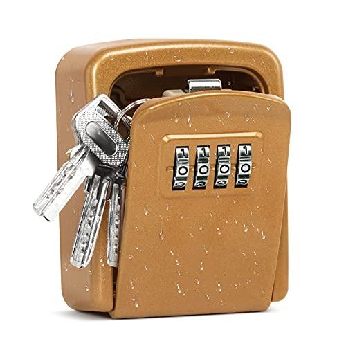 AORAEM Schlüsselkasten-Codeschloss schlüsselsafe aussen schlüsselkasten mit zahlencode mit 4-stelligem lockbox schlüsseltresor außen ür den Innen- und Außenbereich (Golden)