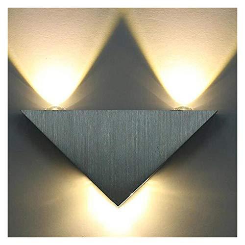 Aplique de pared triangular de aluminio LED de 3W, iluminación interior minimalista contemporánea, dormitorio, iluminación para el hogar, luminaria para baño (Lampshade Color : Warm white)