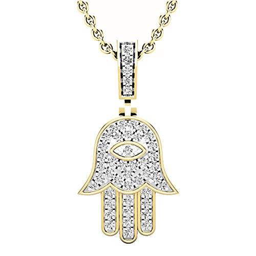 0.25 Carat (ctw) Round White Diamond Unisex Hamsa Hand of Fatima Charm Pendant 1/4 CT, 14K Yellow Gold (0.25 Ct Pendant)