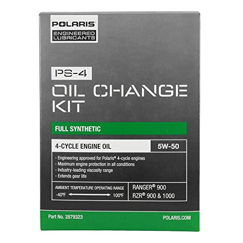 Polaris Full Synthetic Oil Change Kit, Fits Ranger and RZR, 2879323, 2.5 Quarts of PS-4 Engine Oil and 1 Oil Filter