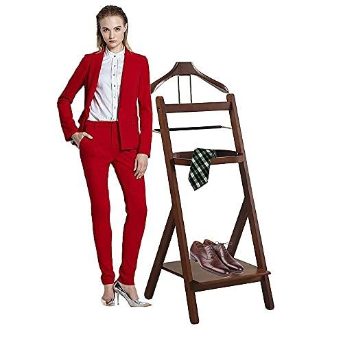 LOHOX Galán de Noche para Estantes y Zapateros Colgar Camisas Mueble Madera Maciza, Pantalones Baño Oficina Dormitorio para Hombre -109x41x46cm Marrón