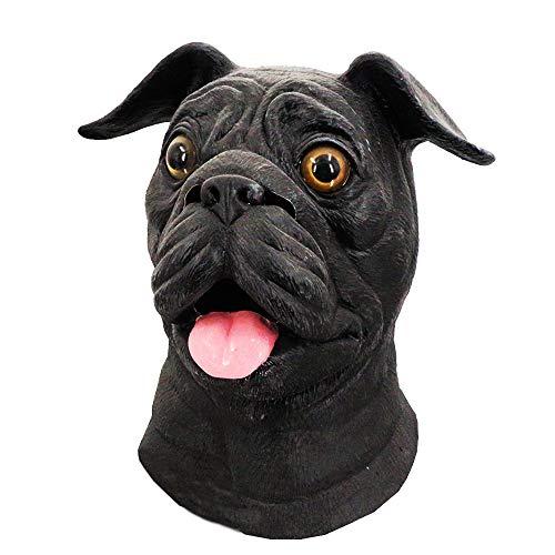 Latex Full Head Overhead Animal Dog Mask, Bulldog Mask Pug Halloween Costume Party Latex Mask Black