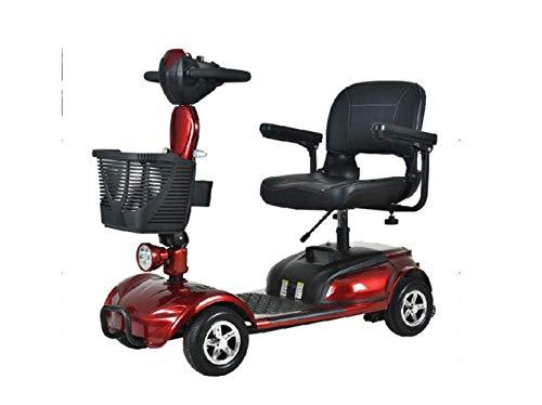 SEESEE.U Motorrad Mini Folding Elektroauto, Erwachsenen Dreirad Mini Pedal Elektroauto, tragbare Faltbare Lithiumbatterie Reisebatterie Auto, Outdoor Motorrad Reiserad, Red1,30A