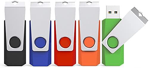 KEXIN 16 GB Chiavetta USB 5 Pezzi Pennetta Girevole Unità Memoria Flash Pen Drive Penna USB 16 Giga Chiavette con Cordino (5 Multicolorato: Nero Blu Verde Rosso Arancio)