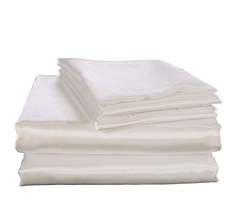 Bedify Bedding 100% Pure Silk Satin Sheet Set 7pcs, Silk Fitted Sheet 15'' Deep Pocket,Silk Flat Sheet,Silk Duvet Cover & Pillowcases Set !!! King, White
