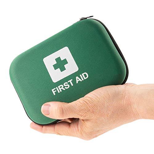 Home Treats Essential Erste-Hilfe-Tasche, 100 Stück Zubehör, einschließlich Alkohol-Pads, Jod, antiseptische Reinigungstücher, Augenpads, Mullpads, Klebeband, dreieckige Bandage