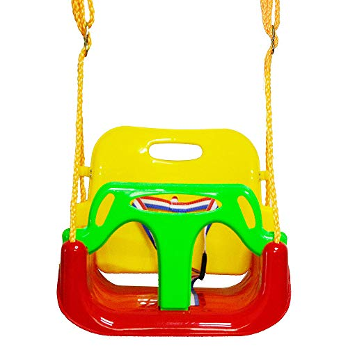 SUREH 3-in-1 Toddler Swing Seat Infants to Teens Heavy Duty Rope Play Secure Children Hanging Swing Chair High Back Detachable Outdoor Garden Child Swing Seat for Indoor,Outdoor,Playground