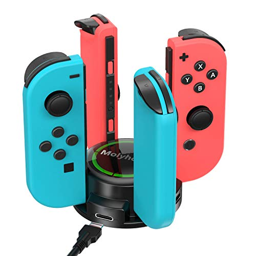 Molyhood cargador nintendo switch, Base de Carga para Nintendo Switch Joy-Con Chargers Dock con Indicador LED
