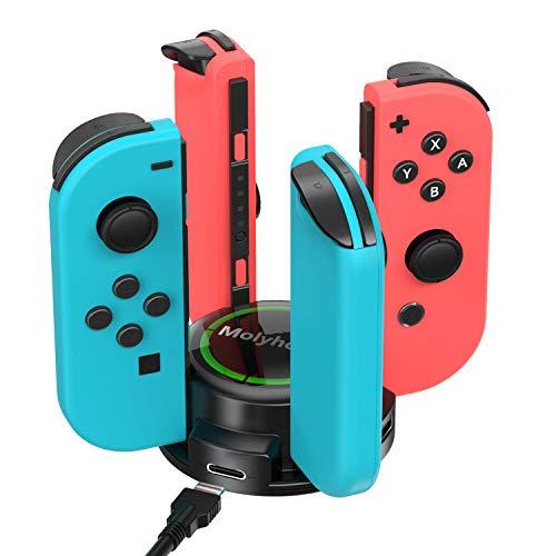 Molyhood cargador nintendo switch, Base de Carga para Nintendo Switch Joy-Con Chargers Dock con Indicador LED