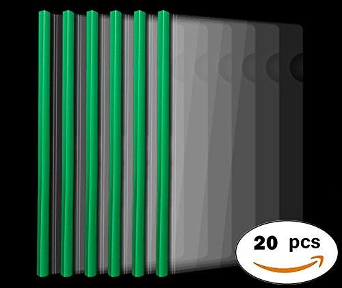 Plastic File Folder 10mm Sliding Bar Report Covers, 20C, 40 Sheet Capacity, Transparent Resume Presentation File Folders Organizer Binder for A4 Size Paper, 20 Pcs