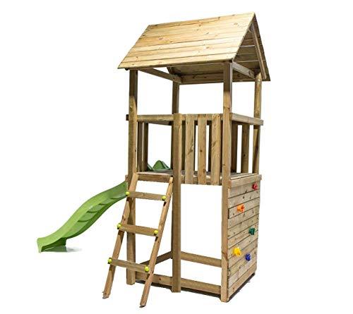 MASGAMES | Parque Infantil Canigó con Pared de Escalada | Plataforma 120 cm Altura | Tobogán con Conector a Manguera | Anclajes incluidos | Uso doméstico |