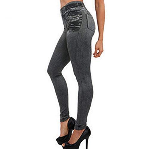 Vectry Jeans Damen Slim Fit Skinny Fit Jeans Jogger Push Up Ankle Straight Leg Mit LöChern Stretch Denim Relaxed Hose Aufnäher Hosen, Hohe Taille Leggings Bleistifthosen Jeanshosen(Grau,2XL)