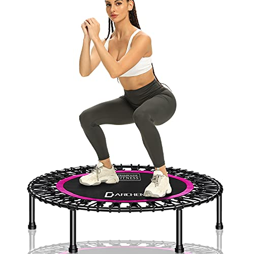 DARCHEN 400 lbs Rebouonder Trampoline for Adults, Mini Trampoline for Adults Indoor Exercise Workout Fitness, Small Bungee Rebounder, Quiet and Safely Bounce [40 Inch]