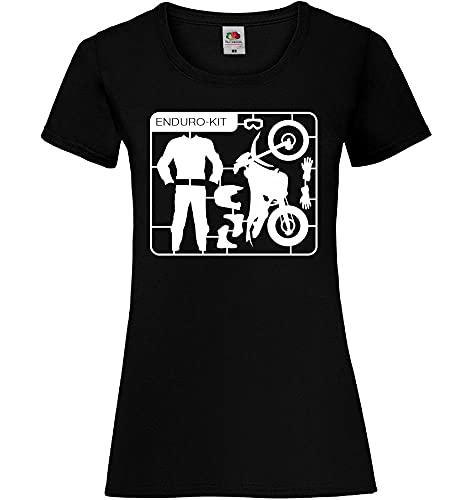 Shirt84.de Enduro Cross Kit - Camiseta para mujer Negro S