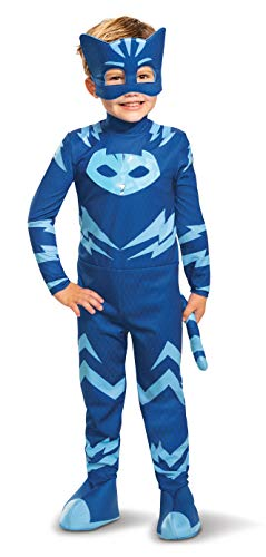 PJ Masks Catboy Costume, Deluxe Kids Light Up Jumpsuit Outfit and Character Mask, Toddler Size Extra Large (7-8) Blue
