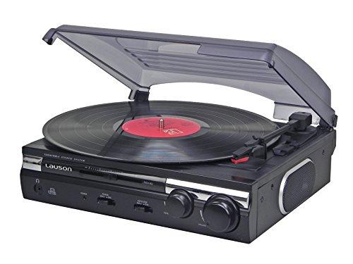Lauson CL145 Tourne-Disque stéréo 2 Vitesses (33/45 RPM) avec Haut-parleurs intégrés et Fonction...
