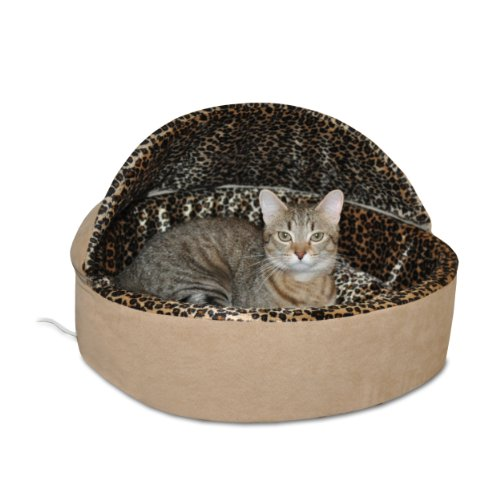 K&H Pet Products Leopard Deluxe Heated Hooded Cat Bed