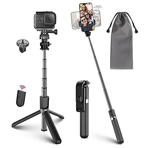 Palo Selfie Trípode, Selfie Stick 4 en 1 con Control Remoto Bluetooth, Calidad Aluminio, Rotación para Cámara Deportiva, Gopro, y Viaje, Compatible con Móvil iOS Android (4-6.8 Pulgadas)