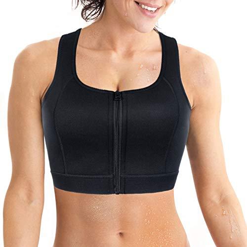Sujetador Deportivo para Mujer de Entrenamiento, Fitness, Yoga y Gimnasio, Trekking (Black with Zipper, XL)