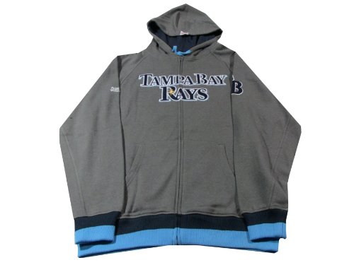 MLB Tampa Bay Rays Adult Full Zip Hooded Jacket, Charcoal, Large
