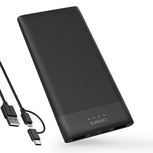 Powerbank Omars Externer Akku Tragbares Ladegerät 10000mAh Power Bank für Handy Super Leicht Slim Super PowerIQ Technologie für iPhone, Huawei, Samsung Galaxy, MP3, MP4