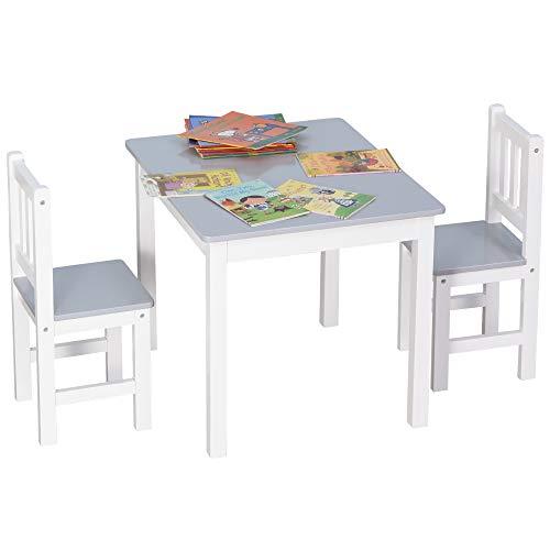 HOMCOM 3-tlg. Kindersitzgruppe mit Kindertisch 2 Stühle für 3+ Kindermöbel Kiefer+MDF Grau+Weiß 60 x 50 x 48 cm