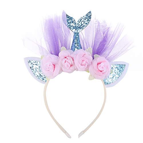 Lurrose Sirène Bandeau Paillettes Bande de Cheveux Coiffe de fête Accessoires de Cheveux pour Enfants Enfants (Bleu avec des Fleurs)