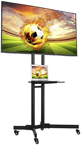 Yaheetech Mobil TV Wagen Trolley 32-65 Zoll Universal TV Ständer Standfuß höhenverstellbar Fernsehständer mit Halterung für LCD LED schwenkbar VESA:200x200 mm, 400x400 mm, 600x400 mm bis 50 kg