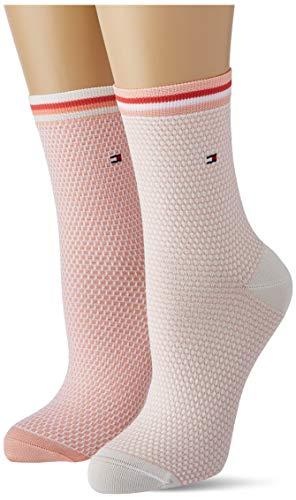 Tommy Hilfiger Womens Collegiate Honeycomb Women's Short (2 Pack) Socks, Coral, 35/38
