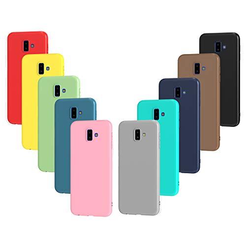 ivoler 10 x Funda para Samsung Galaxy J6+ / J6 Plus 2018, Ultra Fina Carcasa Silicona TPU Protector Flexible Funda (Negro, Gris, Azul Oscuro, Azul Cielo, Azul, Verde, Rosa, Rojo, Amarillo, Marrón)