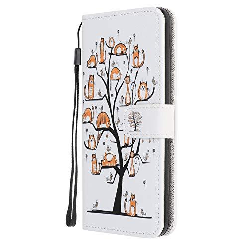 Nadoli Kreativ Bunt Gemalt Tier Baum Entwurf Pu Leder Magnetverschluss Buchstil Ständer Schlank Brieftasche Wallet Schutz Hülle Deckung für Samsung Galaxy A30S