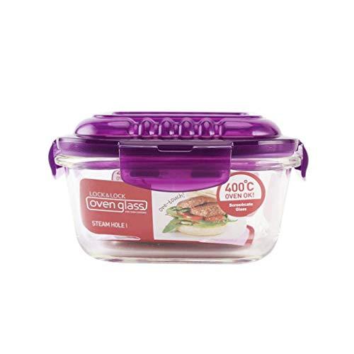 ZL-Caja de almacenamiento Agujero de Vapor Recipiente de Vidrio Resistente al Calor Lunch Box Refrigerator Storage Box (Color : B, Tamaño : 750ml)