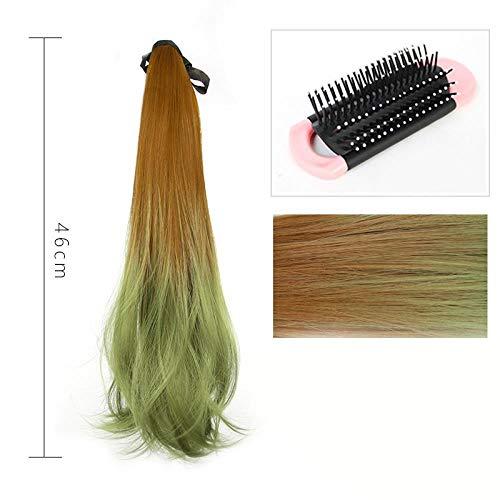 Femelle micro-frisée dégradé vert queue de cheval couleur de cheveux raides longs soulignant le bandage haute pince queue de cheval fausse pince à épiler, vert dégradé brun clair + peigne