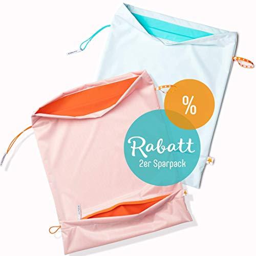 Foxy Baby® Waschsack, selbstentleerender Windelsack mit Auslaufschutz, XL Wetbag (Sparpack Apfelblauseegrün/Orange)