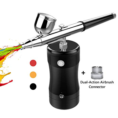 COSSCCI Upgraded Airbrush Kit, Portable Mini Air Brush Spray Gun with Compressor Kit Single Action Air Brush Painting Kits for Cake Decorating Makeup Art Nail Model Painting Tattoo Manicure (Black)