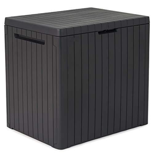 Keter Auflagenbox Gartenbox Gartentruhe Kissenbox Gartenmöbel Beistelltisch Spielzeugkiste Garten Box Kissentruhe Aufbewahrungsbox Anthrazit Holzoptik 113L