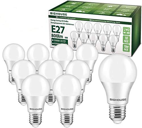 Ampoule LED E27, 9W équivalent Ampoule Halogène 60W, 800LM, Blanc Chaud 3000K, A60 Culot Edison à vis, Lot de 10