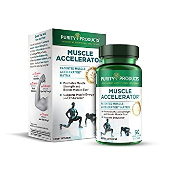Muscle Accelerator by Purity Products - 650 mg Patented & Clinically Tested Muscle Accelerator Blend of Ayurvedic Herbal Extracts Promotes Strength Endurance + Muscle Growth - 60 Veg Caps